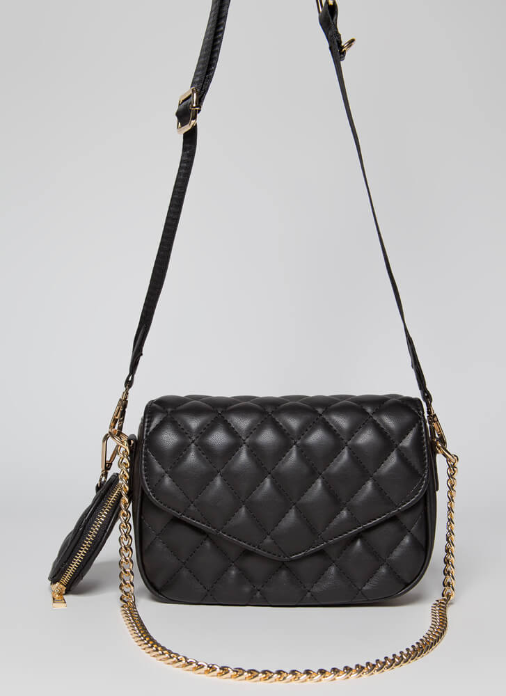 A Lady With Options Quilted Purse Set BLACK