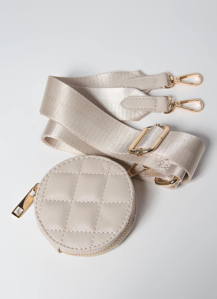 A Lady With Options Quilted Purse Set NUDE
