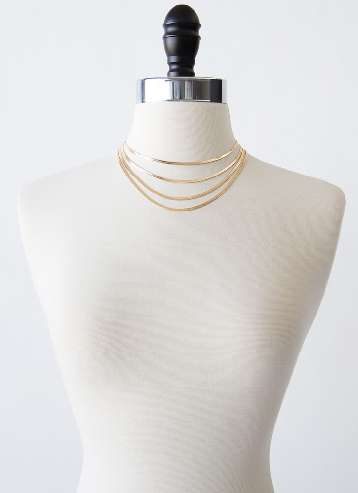 Four You Herringbone Chain Necklace Set GOLD