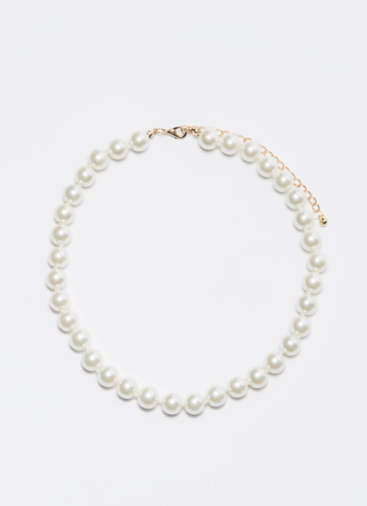 You Hold The Strings Faux Pearl Necklace IVORY