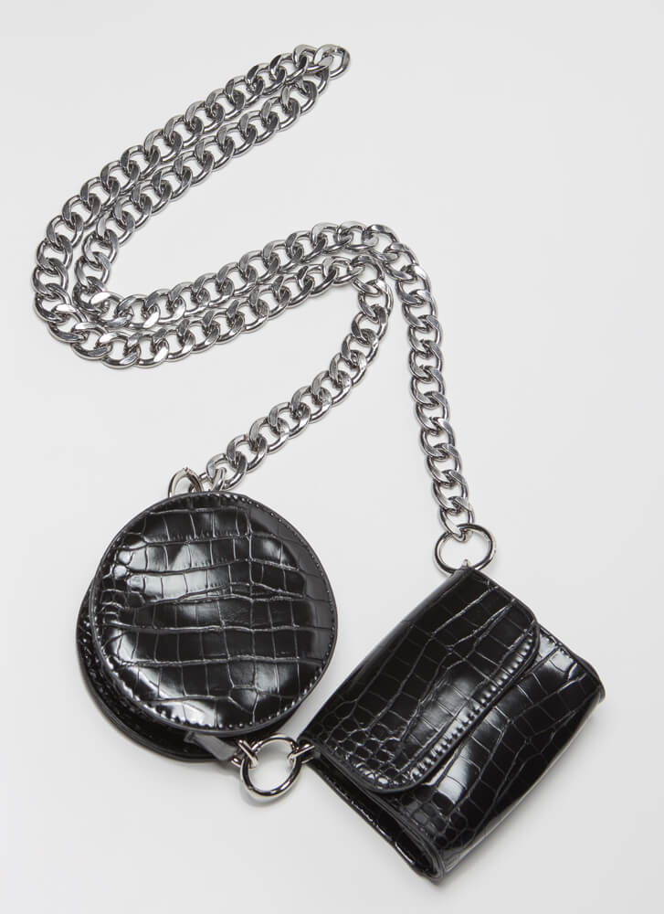 One-Two Pouch Convertible Chained Set BLACKSILVER