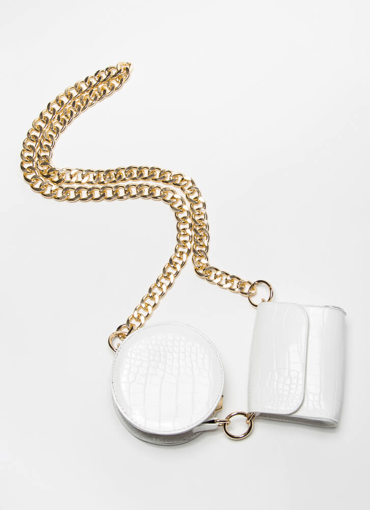 One-Two Pouch Convertible Chained Set WHITEGOLD