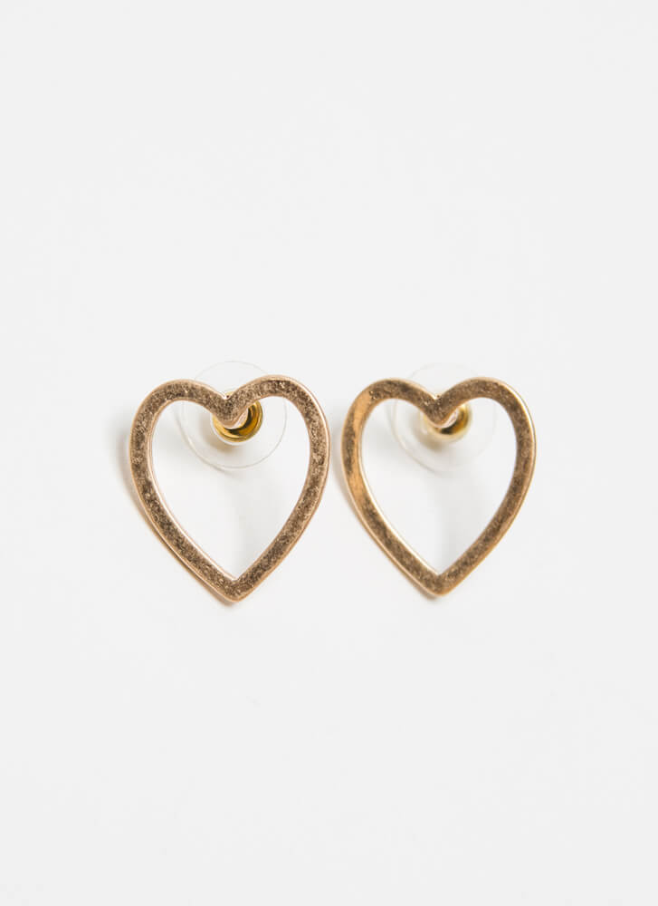 Vintage At Heart Matte Cut-Out Earrings GOLD