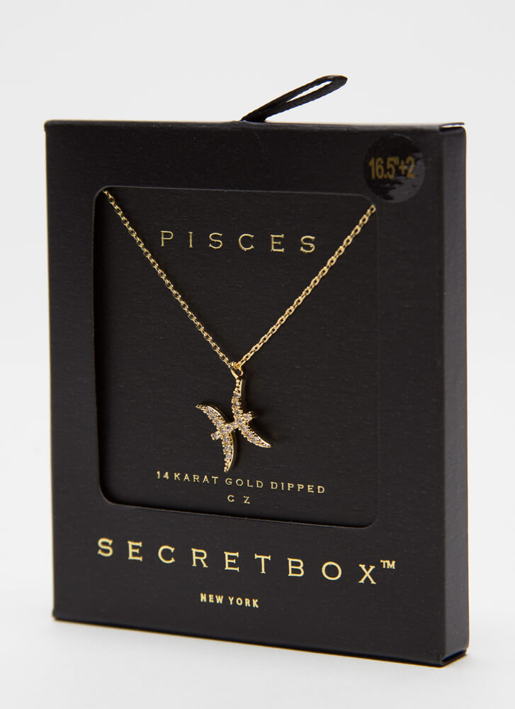 I'm A Pisces Jeweled Charm Necklace GOLD
