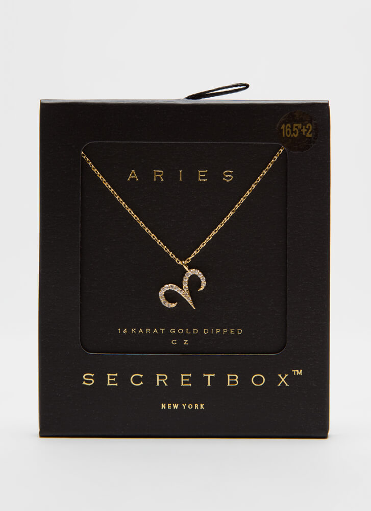 I'm An Aries Jeweled Charm Necklace GOLD