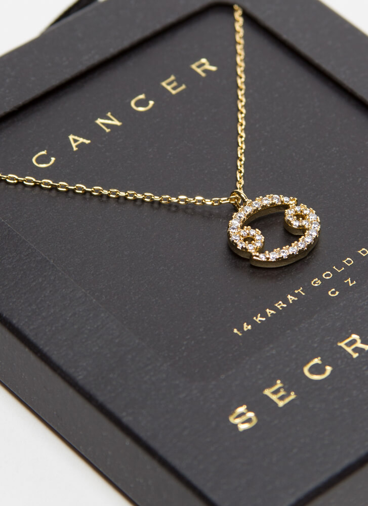 I'm A Cancer Jeweled Charm Necklace GOLD
