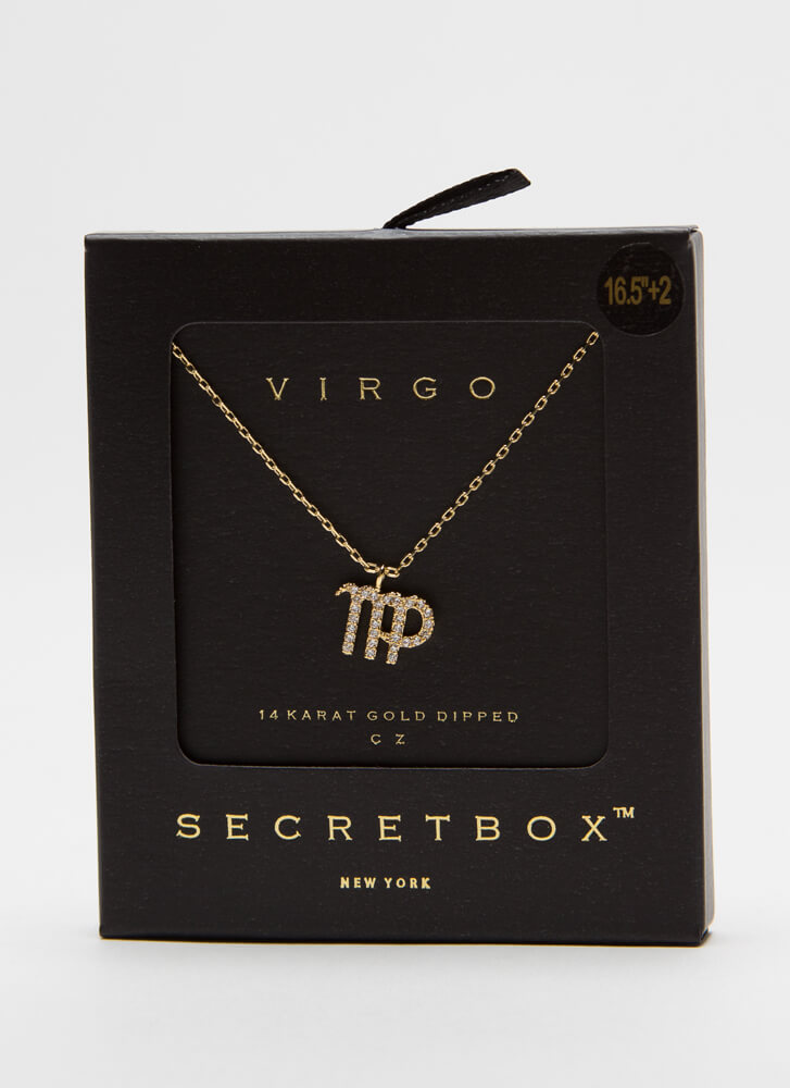 I'm A Virgo Jeweled Charm Necklace GOLD