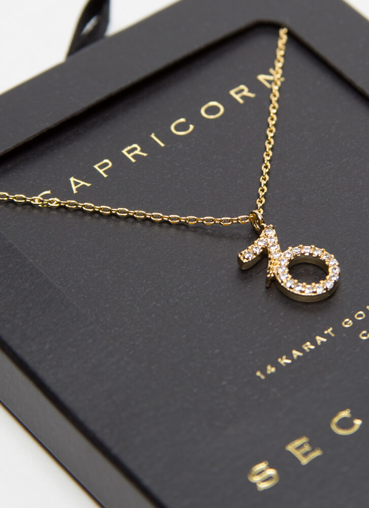 I'm A Capricorn Jeweled Charm Necklace GOLD