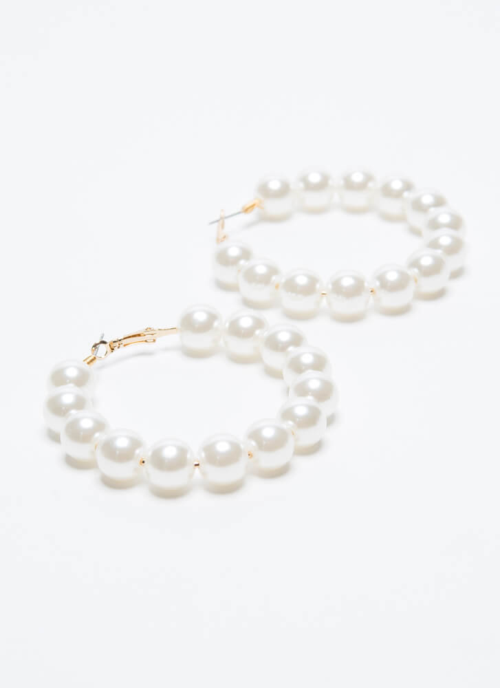 Have A Ball Faux Pearl Hoop Earrings GOLDCREAM