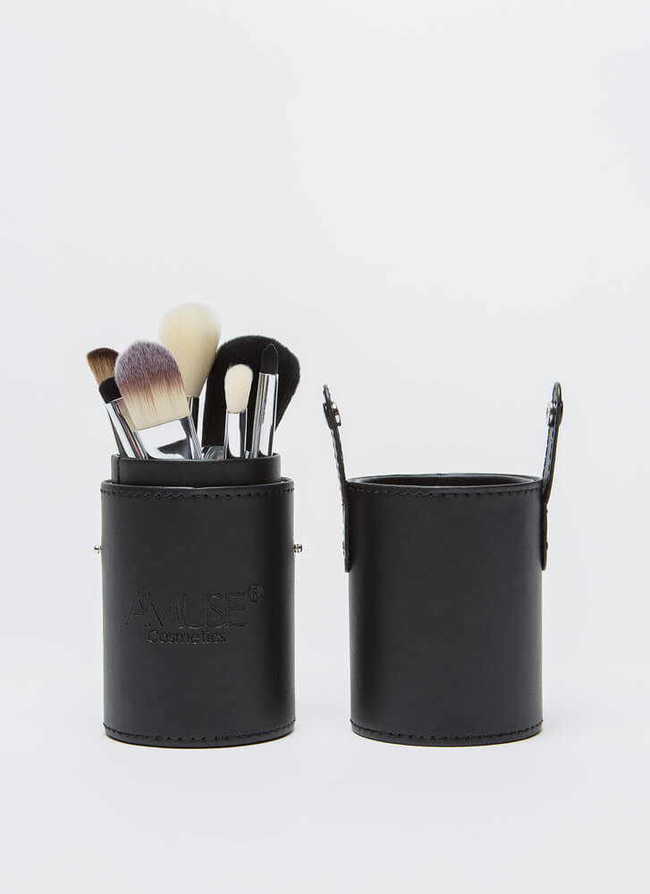 Let's Makeup 7-Brush Set With Caddy BLACK