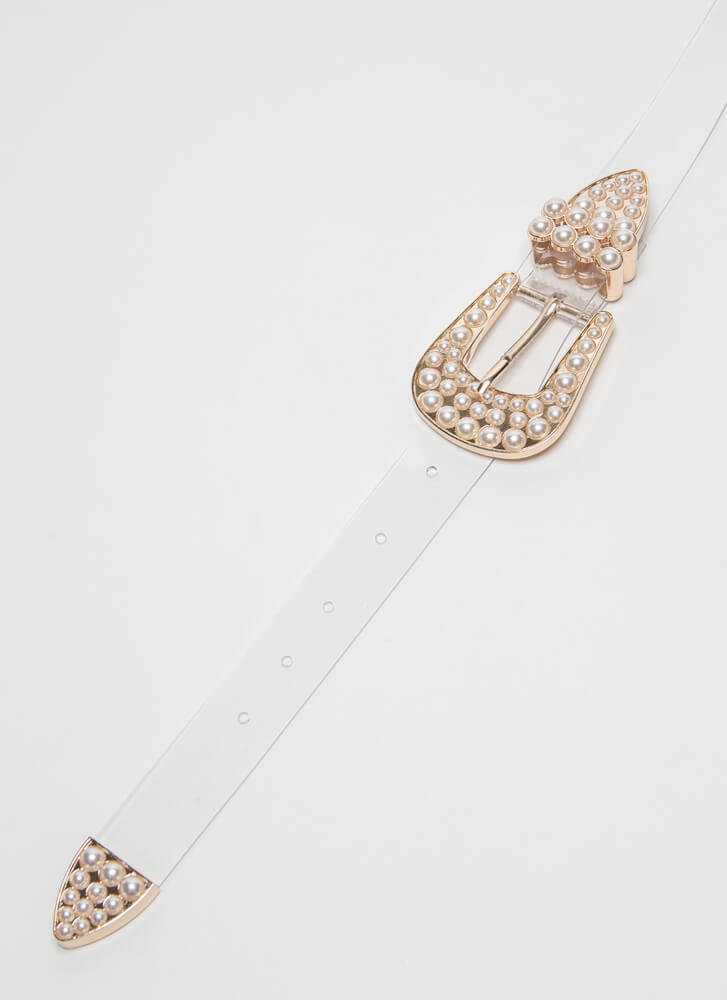 Double Down Clear Faux Pearl Hip Belt CLEARGOLD