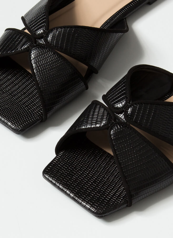 Luxe Lizard Scaled Cut-Out Slide Sandals BLACK