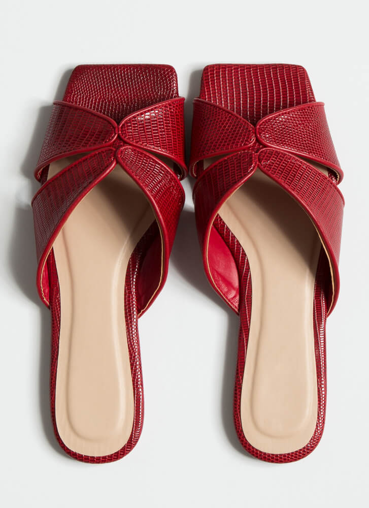 Luxe Lizard Scaled Cut-Out Slide Sandals RED
