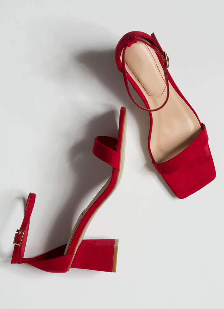 Square Off Faux Suede Chunky Heels RED