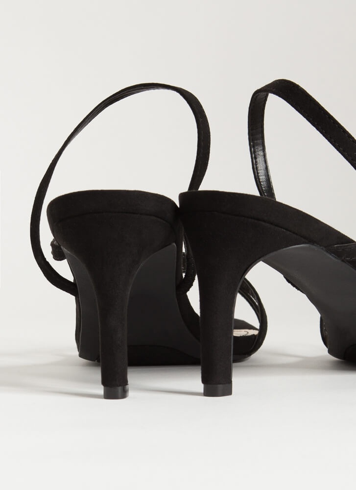 On-The-Go Girl Strappy Faux Suede Heels BLACK