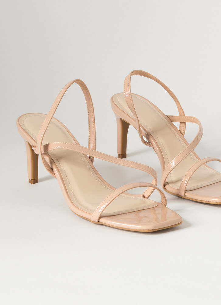 On-The-Go Girl Strappy Faux Patent Heels NUDE