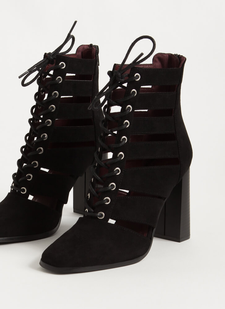 Shutterbug Slatted Lace-Up Booties BLACK