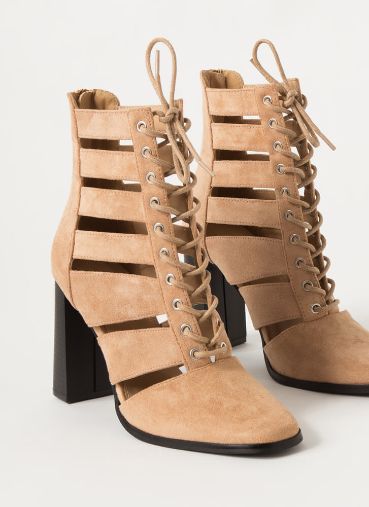 Shutterbug Slatted Lace-Up Booties TAUPE
