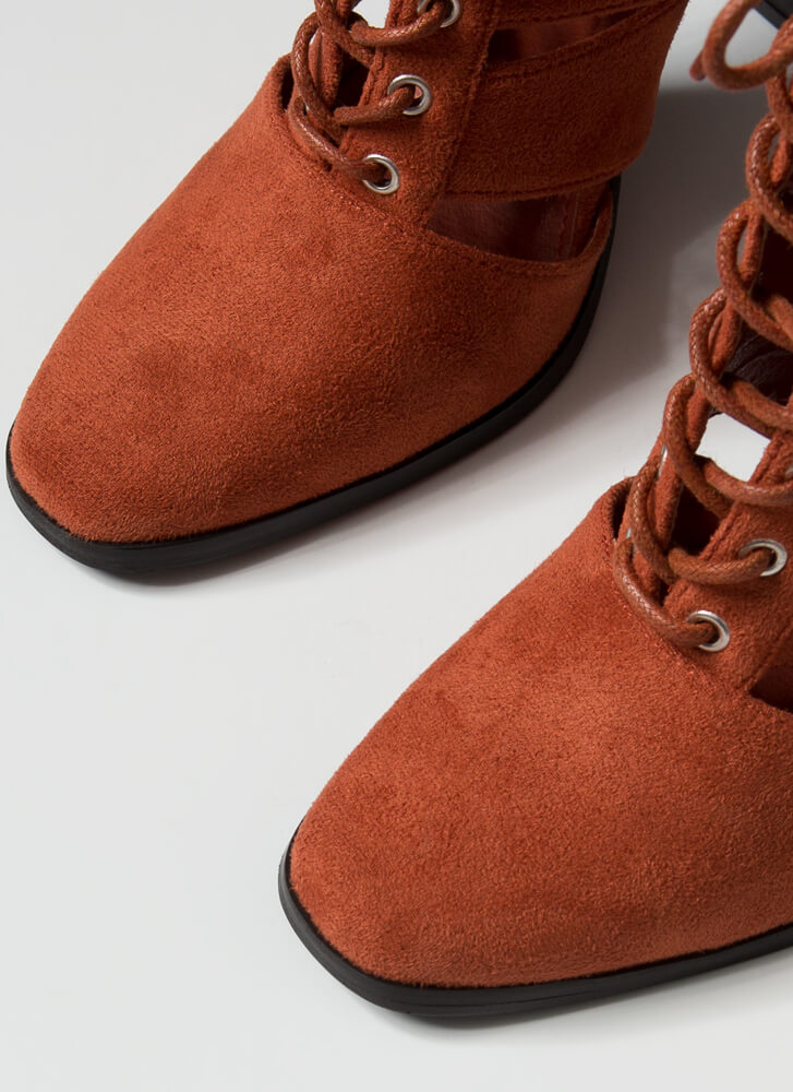 Shutterbug Slatted Lace-Up Booties TERRACOTTA