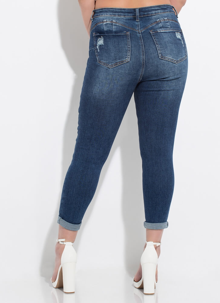 Crop It Destroyed Butt-Lift Skinny Jeans DKBLUE