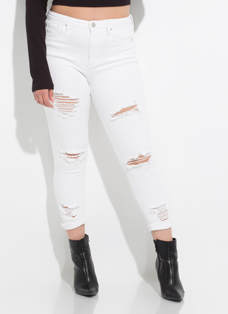 Crop It Destroyed Butt-Lift Skinny Jeans WHITE