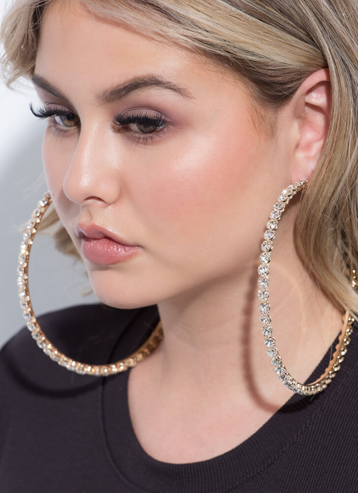 Super Size Oversized Faux Diamond Hoops GOLD