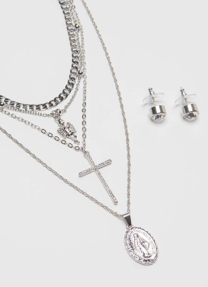 Faith In Me Jeweled Charm Necklace Set SILVER