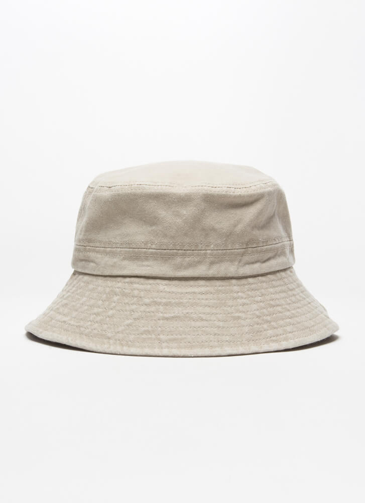 Fish For Compliments Cotton Bucket Hat BEIGE