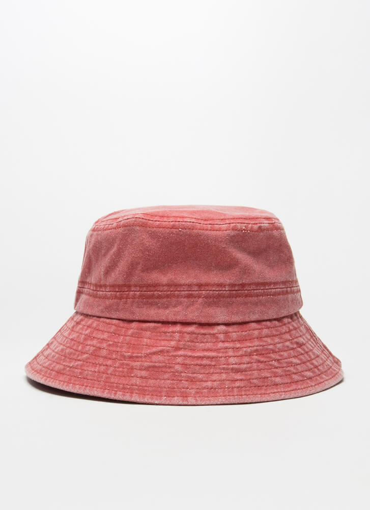 Fish For Compliments Cotton Bucket Hat RED
