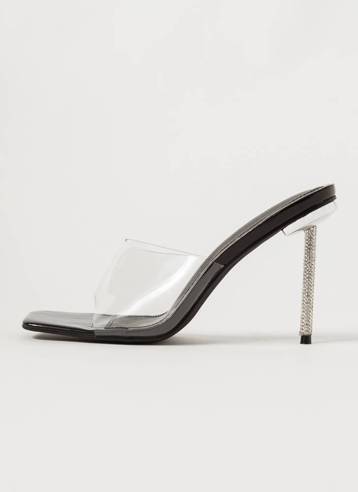 Clear Message Jewel Stiletto Mule Heels BLACK