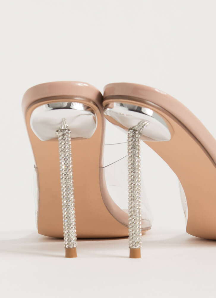 Clear Message Jewel Stiletto Mule Heels NUDE