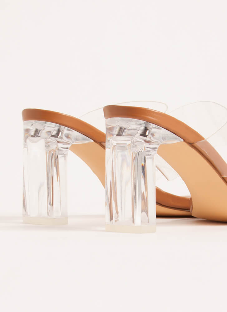 Becoming So Clear Chunky Lucite Heels HONEY