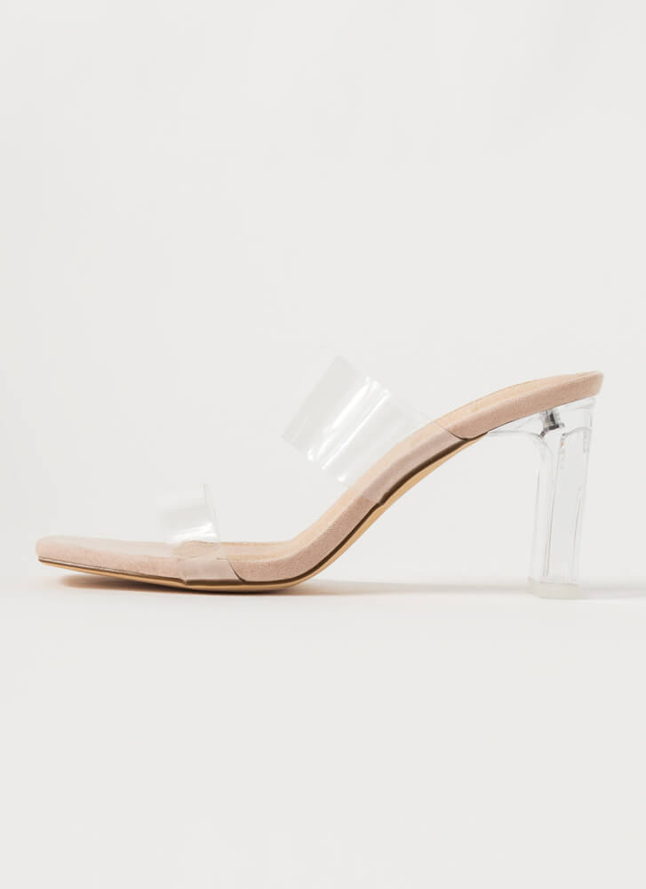Becoming So Clear Chunky Lucite Heels NUDE