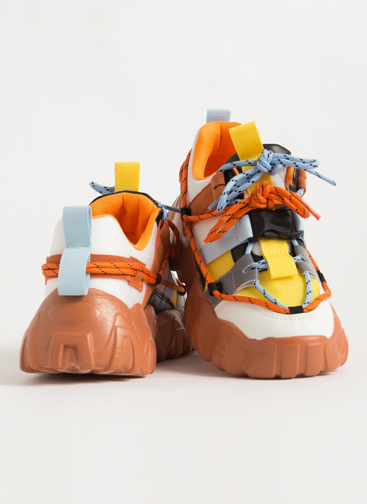 Off To The Laces Chunky Strappy Sneakers ORANGE