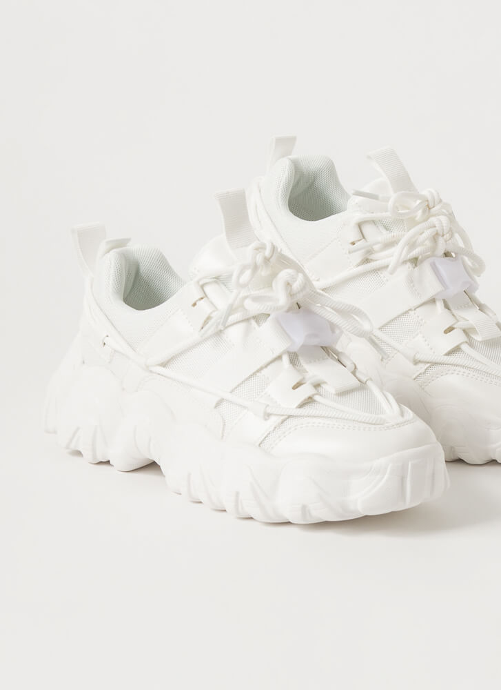 Off To The Laces Chunky Strappy Sneakers WHITE