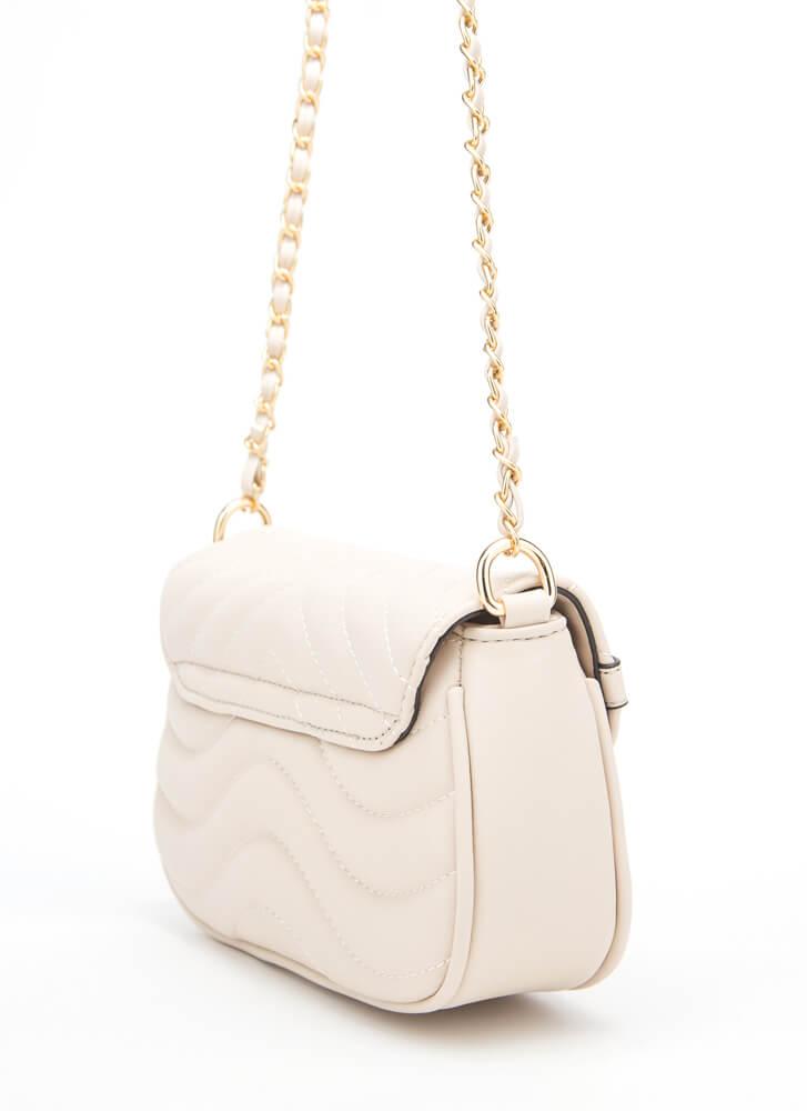 V's The One Quilted Chain Strap Purse APRICOT