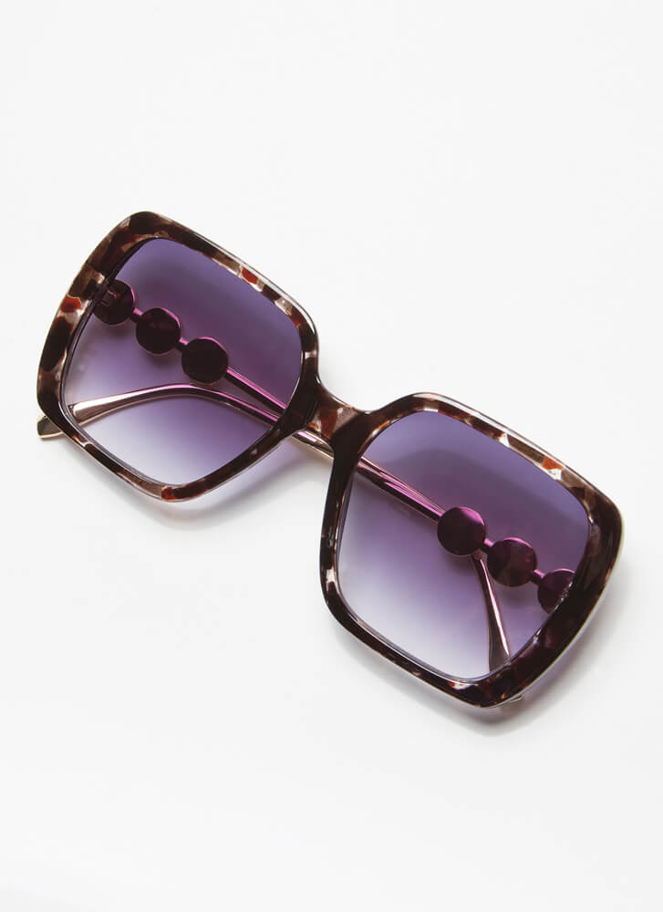 Girls In Pearls Oversized Sunglasses BROWN
