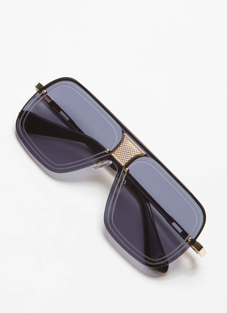 Line Up Here Netted Inset Sunglasses BLACK