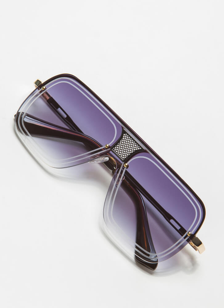 Line Up Here Netted Inset Sunglasses BLACKGREY