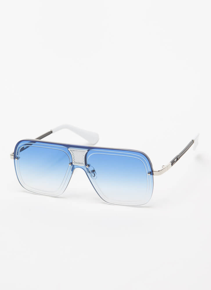 Line Up Here Netted Inset Sunglasses BLUE