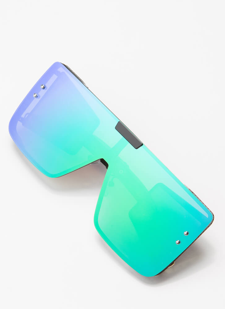 Reflect On The Future Blinder Sunglasses TURQUOISE
