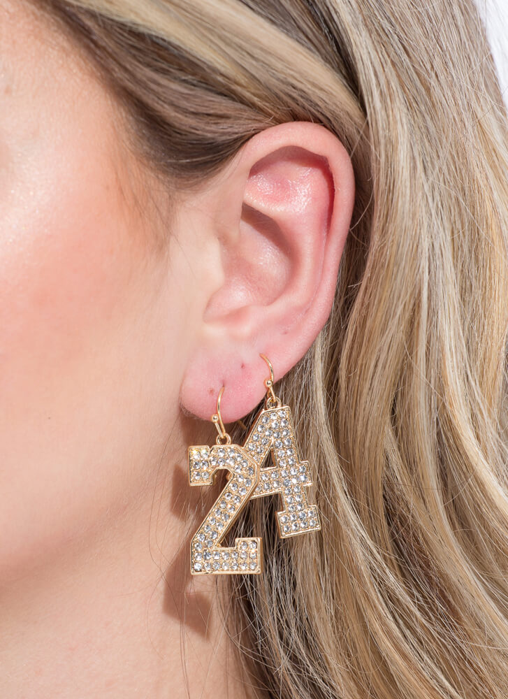 Number 24 Jeweled Charm Earrings GOLD