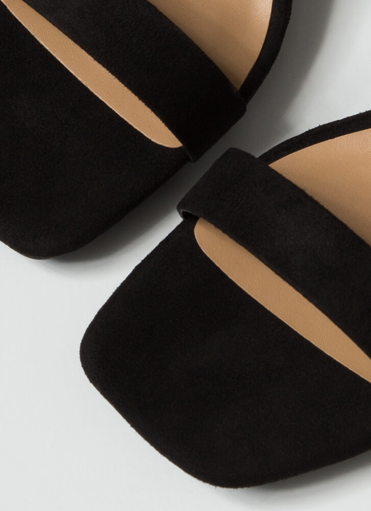 On Your Feet Strappy Faux Suede Wedges BLACK