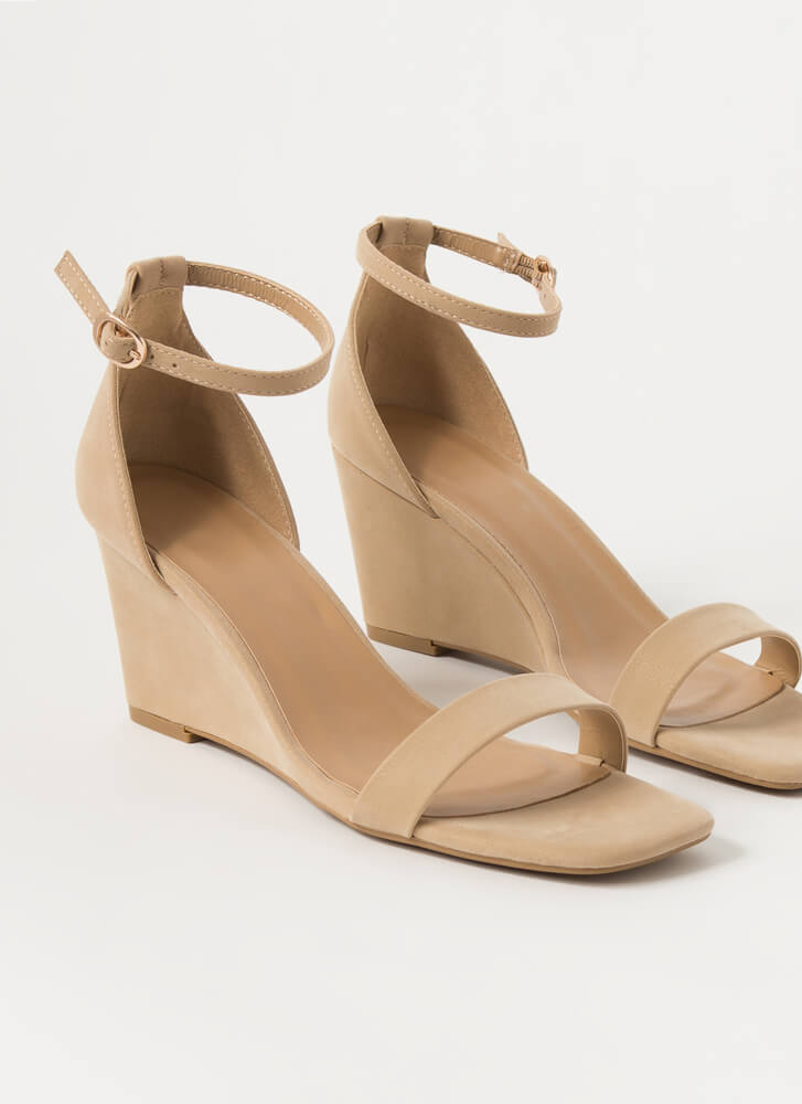On Your Feet Strappy Faux Nubuck Wedges NUDE