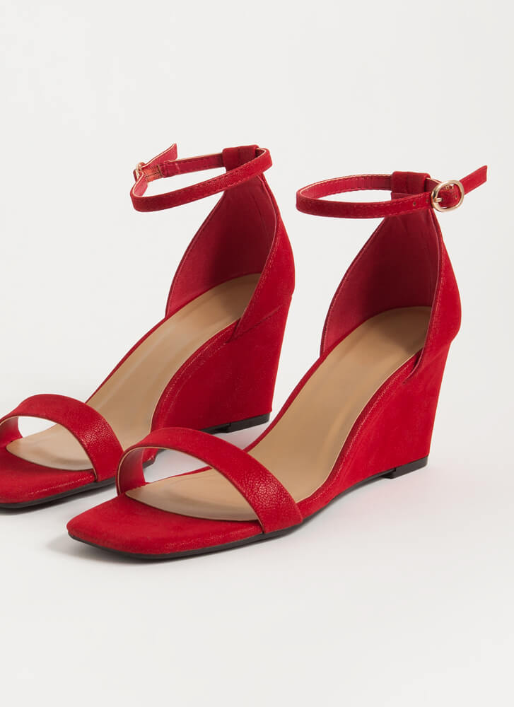 On Your Feet Strappy Faux Nubuck Wedges RED