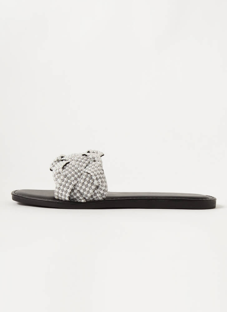 Lace And Pearls Braided Slide Sandals BLACK