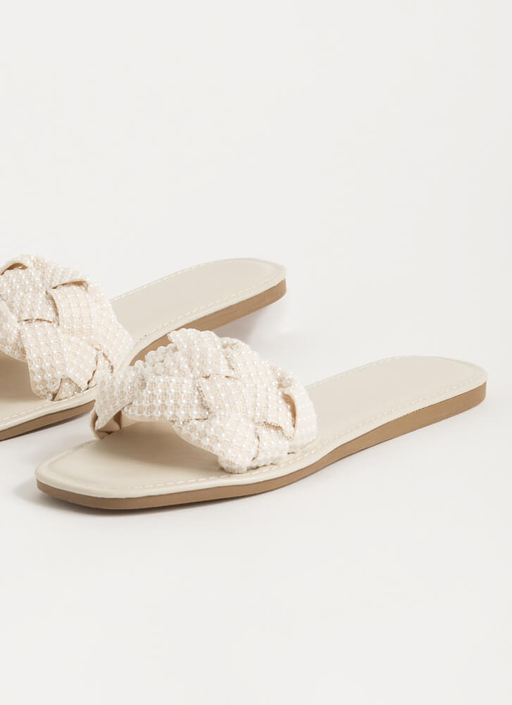 Lace And Pearls Braided Slide Sandals IVY