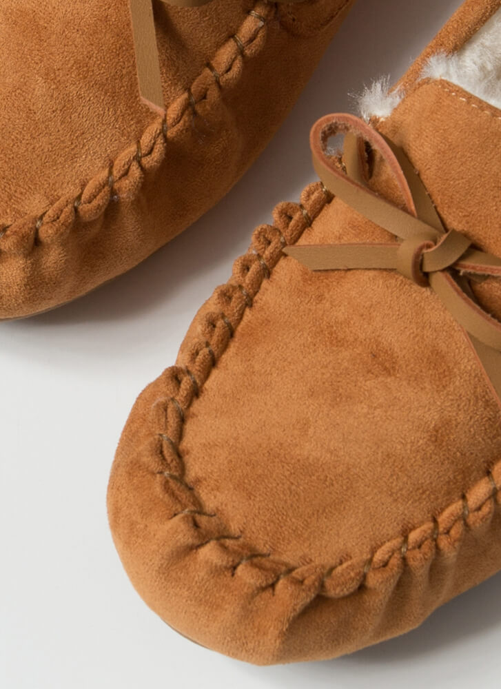 Bow For A Walk Trimmed Moccasin Flats TAN