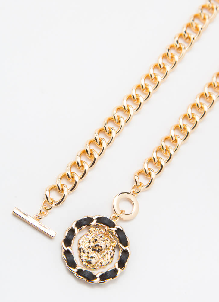 Lady Lion Chained Charm Necklace GOLD