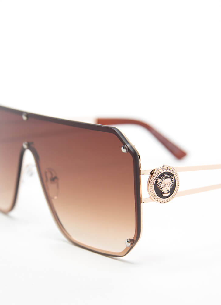 You Ain't Lion Studded Shield Sunglasses BROWN
